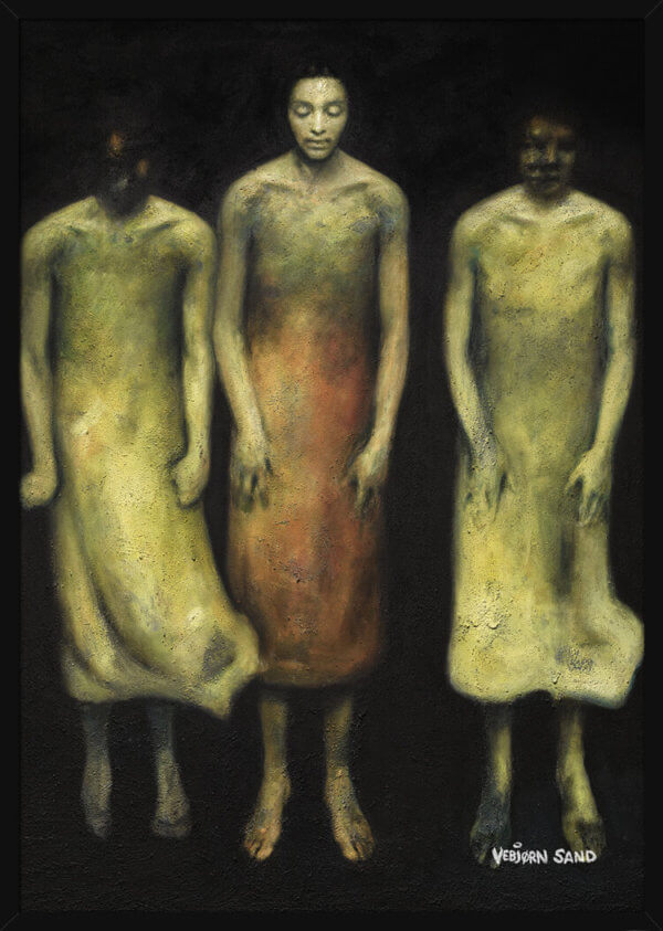 Three floating figures on a dark background, painted by Vebjorn Sand. Art print in a black frame.