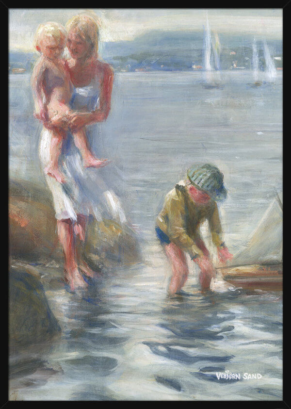 Woman and two children stand by the shore enjoying the summer weather, painted by Vebjorn Sand. Art print in a black frame.