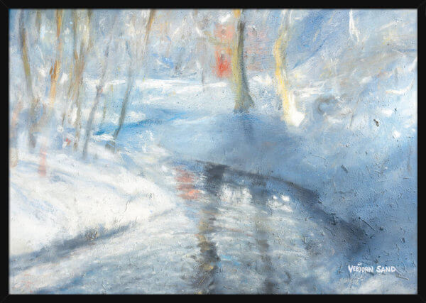 A river runs through a snowy winter landscape, painted by Vebjorn Sand. Art print in a black frame.