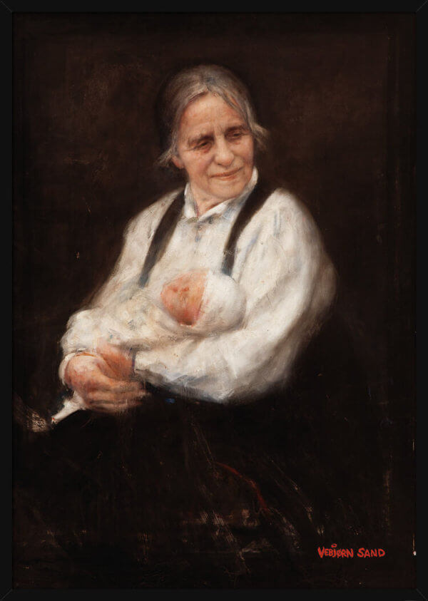 A grandmother holds a baby in her arms, portrait painted by Vebjorn Sand. Art print in a black frame.