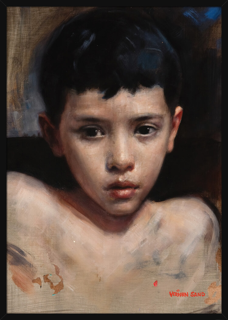 A young boy looks directly at the viewer, portrait painted by Vebjørn Sand. Art print in a black frame.